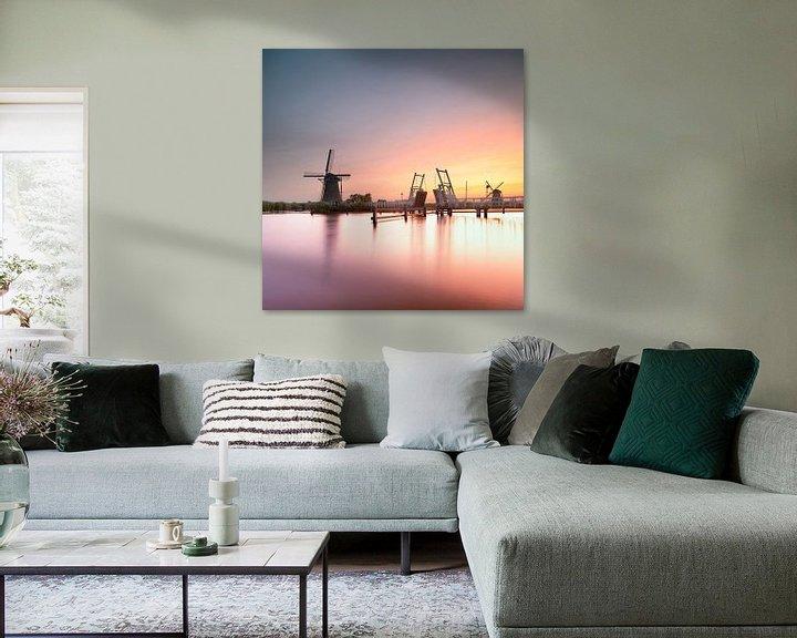 Sfeerimpressie: Zonsondergang in Kinderdijk van Rene Siebring