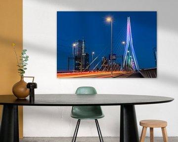 Das Verkehr hinterlässt Spuren auf der Erasmus-Brücke von Gerry van Roosmalen