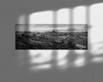 Monochrome Toskana im Format 6x17, Landschaft in der Nähe von San Gimignano von Teun Ruijters