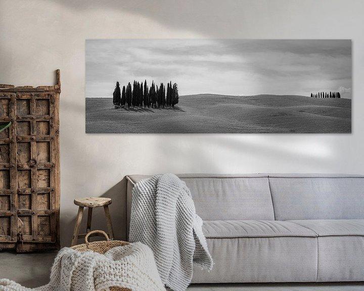 Sfeerimpressie: Monochrome Tuscany in 6x17 format, Cipressi di San Quirico d'Orcia van Teun Ruijters