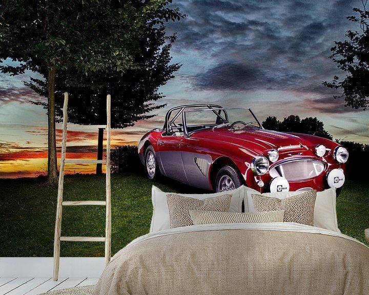 Sfeerimpressie behang: Austin Healey 3000 oldtimer zonsondergang  Auto fotografie van Thomas Boudewijn