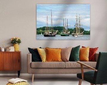 Sailing ships on the Hanse Sail in Rostock, Germany van Rico Ködder
