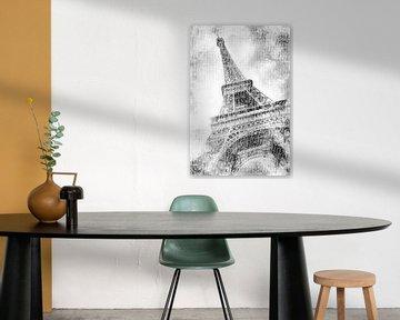 PARIS Eiffelturm | Aquarell schwarzweiß von Melanie Viola