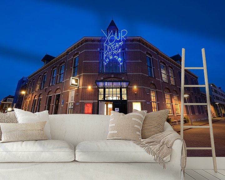 Sfeerimpressie behang: Het Huis Utrecht aan de Boorstraat in Utrecht van Donker Utrecht