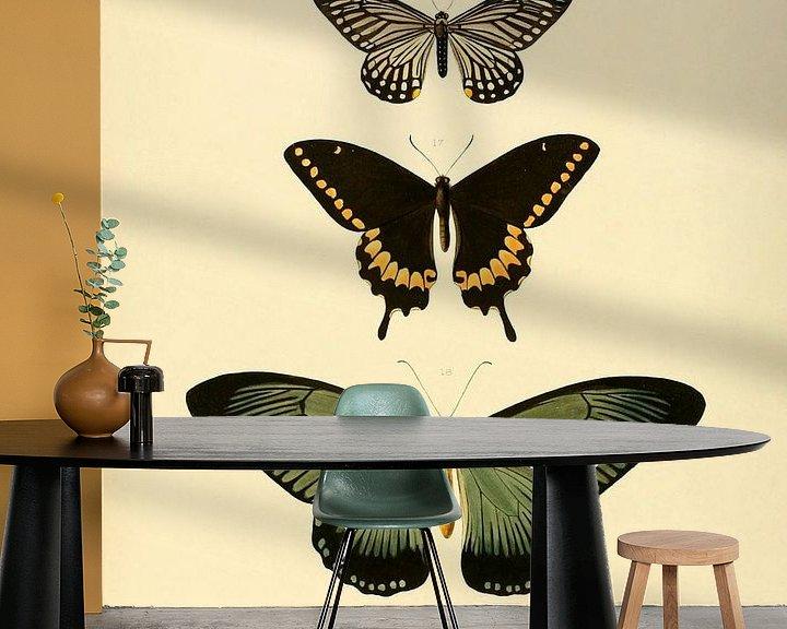 Sfeerimpressie behang: Vintage vlinder illustratie