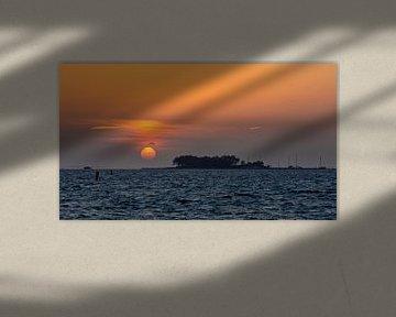 Zonsondergang Grevelingenmeer van Bram van Broekhoven