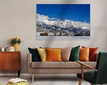 Wilde Kaiser gezien vanuit Söll, in Oostenrijk, Tirol von Jani Moerlands