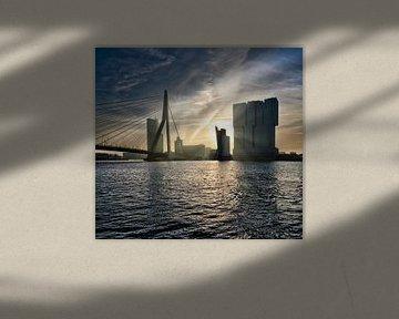 Rotterdam Skyline Panorama Manhattan an der Maas. von Hille Bouma