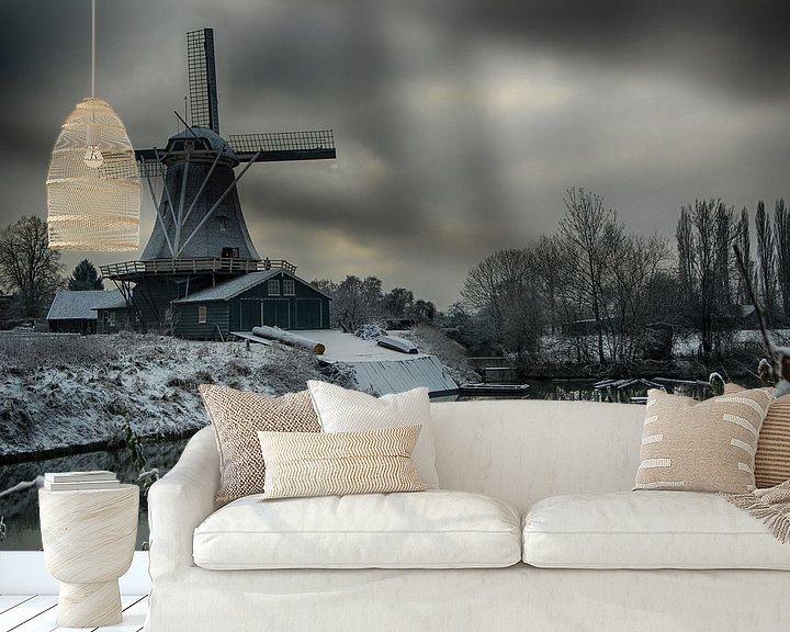 Sfeerimpressie behang: molen in de winter van Rob De Jong