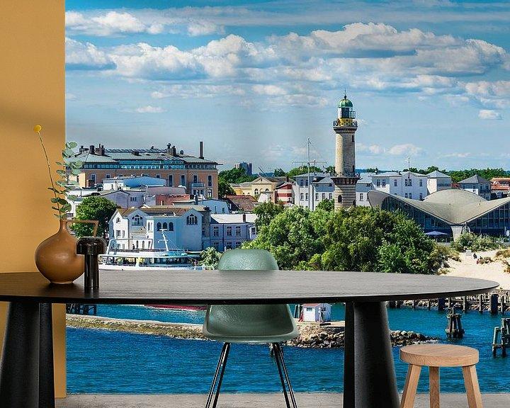 Beispiel fototapete: Blick auf den Leuchtturm von Warnemünde von Rico Ködder
