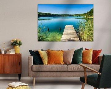 Landscape on a lake with pier van Rico Ködder