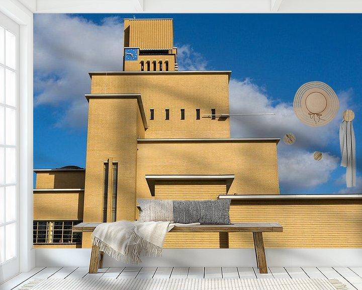 Sfeerimpressie behang: Zijaanzicht van het raadhuis in Hilversum, Nederland van Jan van Dasler