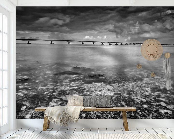 Sfeerimpressie behang: Lange sluitertijd Zeelandbrug (VII) van Mirjam Boerhoop - Oudenaarden