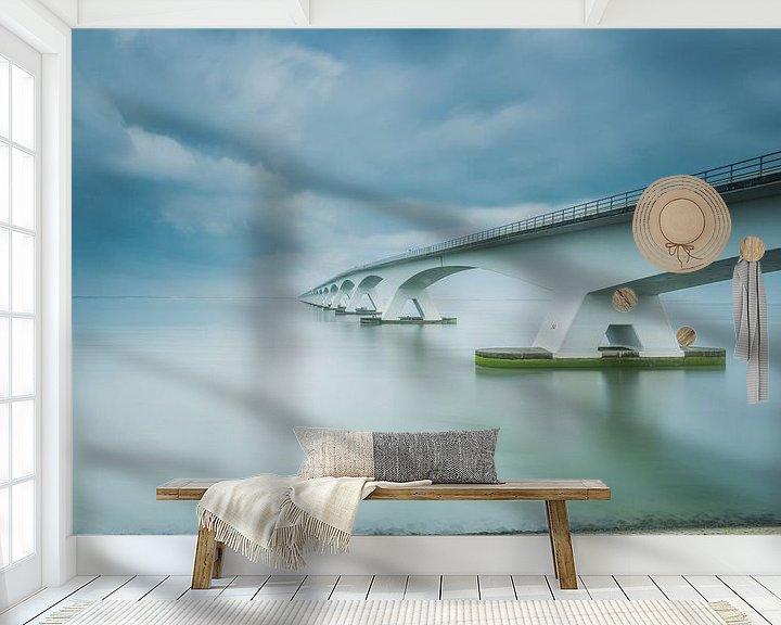 Sfeerimpressie behang: Lange sluitertijd Zeelandbrug (XI) van Mirjam Boerhoop - Oudenaarden