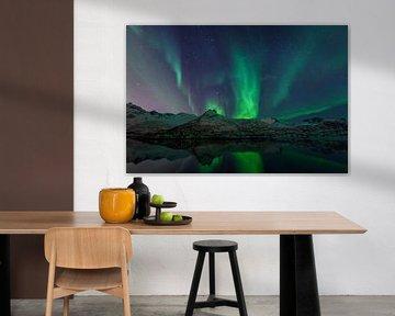 Nordlichter oder Aurora Borealis über den Lofoten-Inseln in Nord-Norwegen von Sjoerd van der Wal