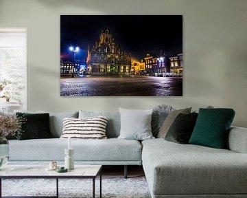 Hôtel de ville de Delft dans la nuit