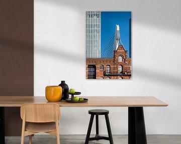 Foto van een pakhuis, De Rotterdam & Erasmusbrug von Mark De Rooij