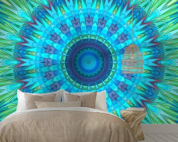 Sfeerimpressie behang: Mandala type 17 van Marion Tenbergen