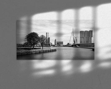 Skyline Erasmusbrug en Kop van Zuid vanaf Leuvehaven von Mark De Rooij