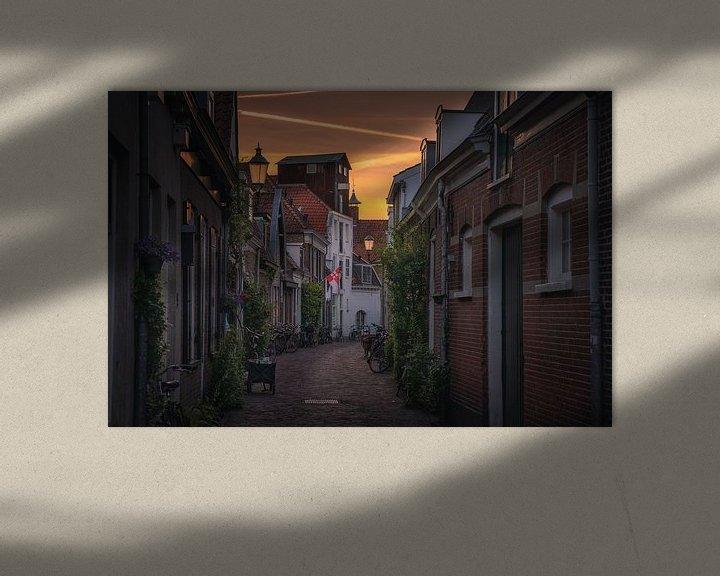 Sfeerimpressie: Amersfoort straatjes zonsondergang van Albert Dros
