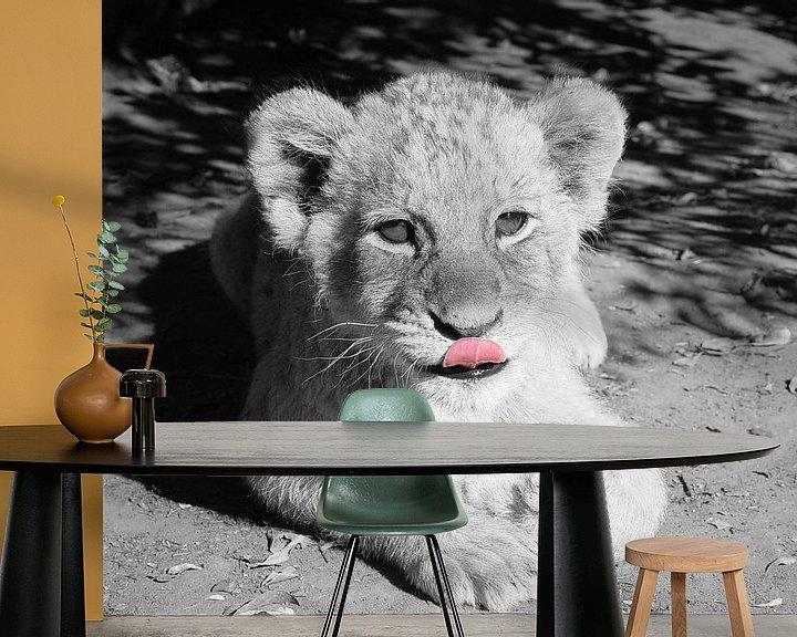 Beispiel fototapete: Löwen Baby schwarzweiß ck von Barbara Fraatz