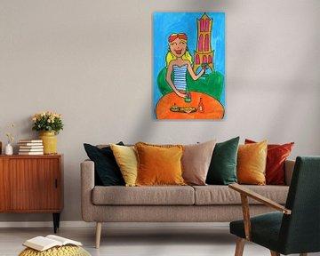 Vrolijk schilderij van meisje in Utrecht van Schildermijtje Shop