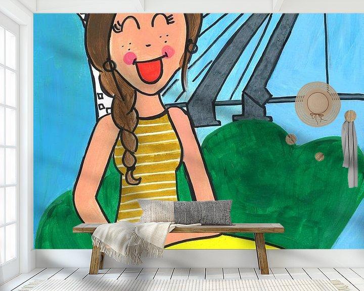 Sfeerimpressie behang: Vrolijk schilderij van een meisje in Rotterdam van Schildermijtje Shop