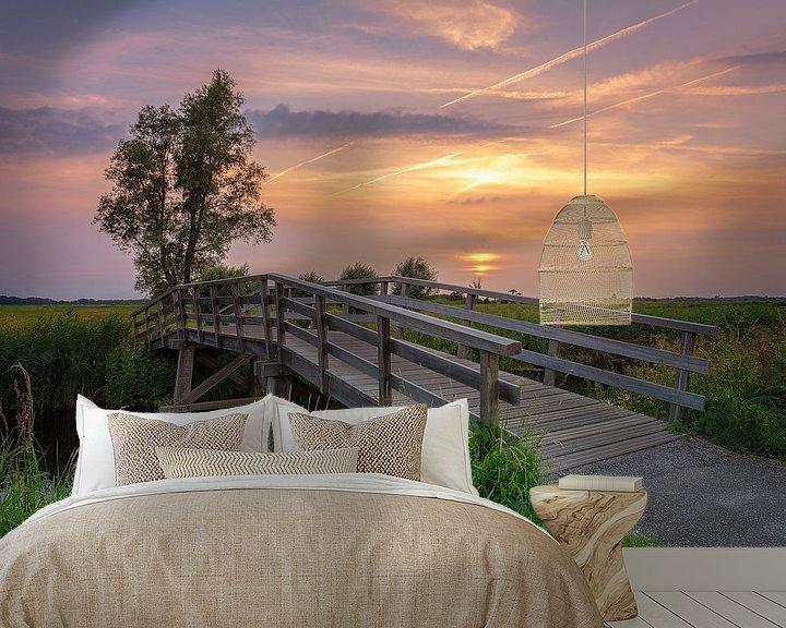 Sfeerimpressie behang: Zonsondergang Sandebuur Drenthe van R Smallenbroek