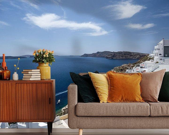 Sfeerimpressie behang: santorini - griekenland van Robin Smit