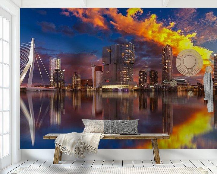 Sfeerimpressie behang: Rotterdam Sunset van Robert Stienstra
