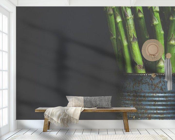 Sfeerimpressie behang: Groene asperge van Els Van Echelpoel