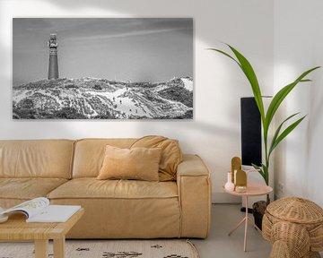 Der Leuhtturm von Schiermonnikoog in  schwarz und weiß
