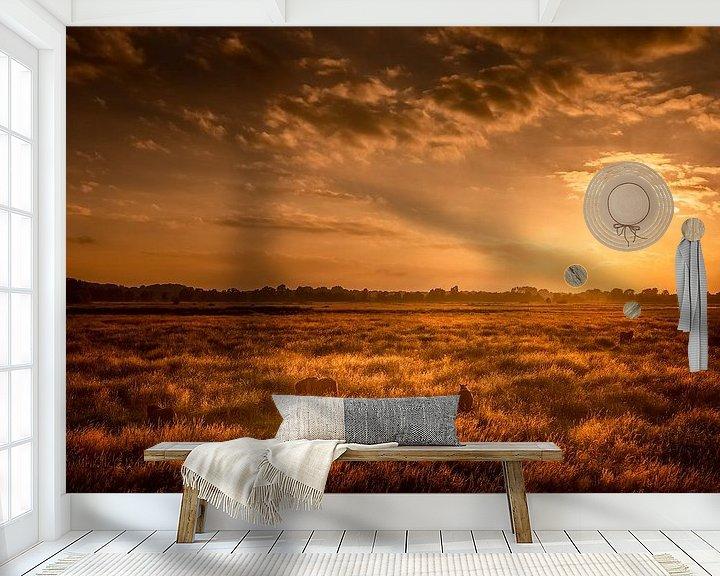 Sfeerimpressie behang: Paarden in de wei van Ton Drijfhamer