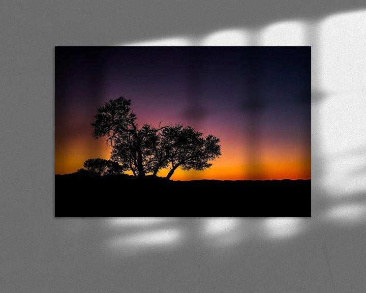 Sfeerimpressie: Schitterende zonsondergang en silhouette in de Namib Woestijn, Namibië van Original Mostert Photography