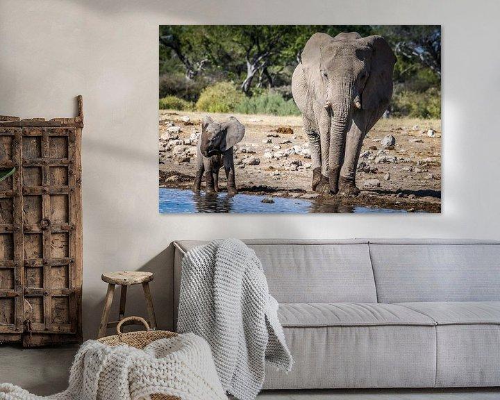 Sfeerimpressie: Olifanten familie geniet van het verkoelende water van Original Mostert Photography