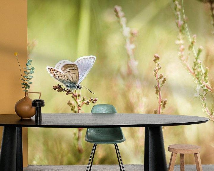 Sfeerimpressie behang: Heideblauwtje van Maja Ooms