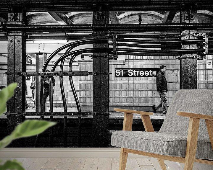 Sfeerimpressie behang: Subway Manhattan New York City van Eddy Westdijk
