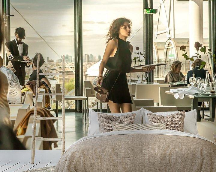Sfeerimpressie behang: Restaurant Centre Pompidou Paris van Maarten Visser