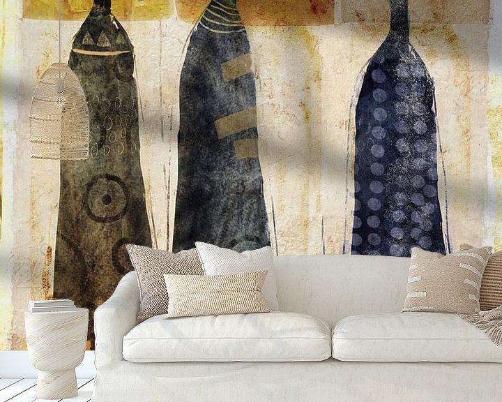 Sfeerimpressie behang: Three of a kind van annemiek groenhout