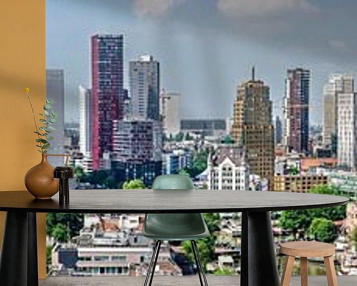 Sfeerimpressie behang: Rotterdams skyline-panorama van Frans Blok
