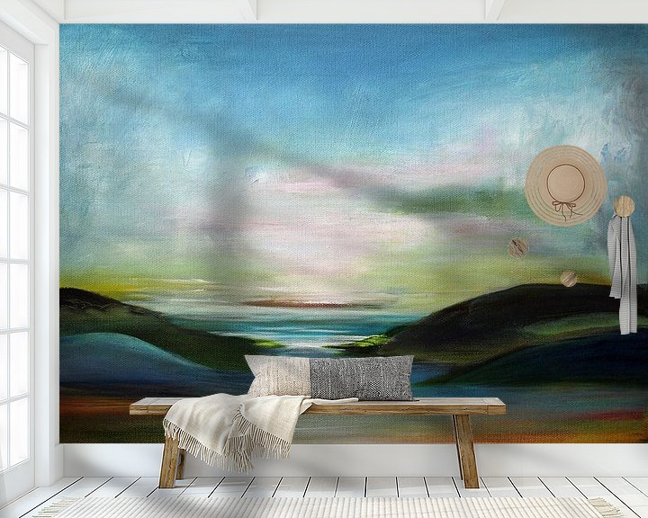 Sfeerimpressie behang: Small Landscape van Sylvia Evans