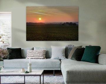 Zonsondergang Zuid Limburg van MSP Canvas
