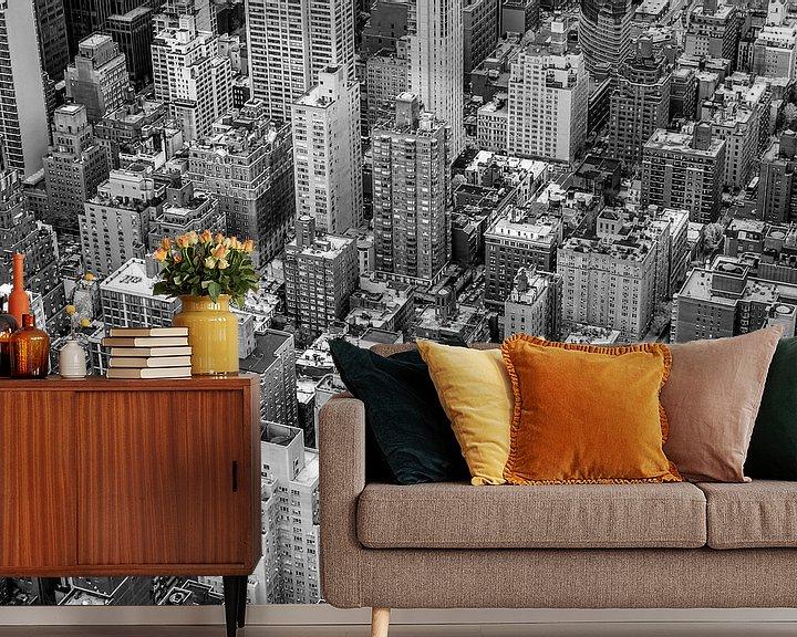 Sfeerimpressie behang: New York City van Bovenaf van Hans Moerkens