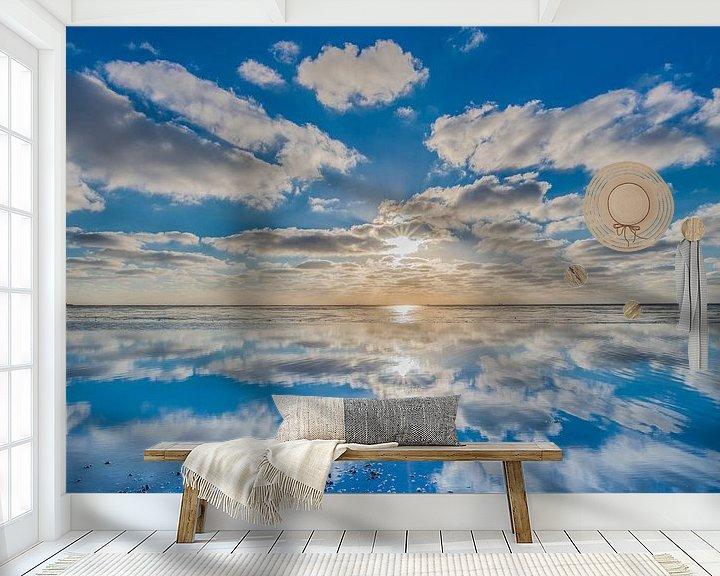 Sfeerimpressie behang: Zonsondergang op het Wad vanaf de pier van Paesens Moddergat van Harrie Muis