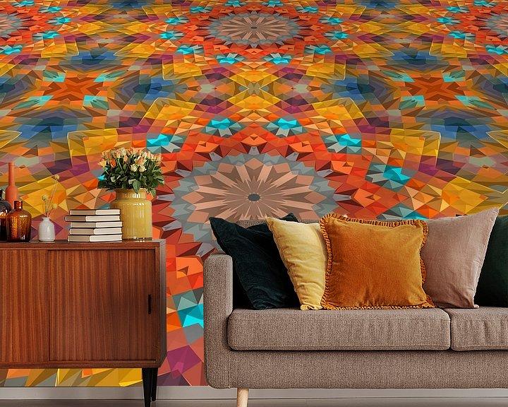 Sfeerimpressie behang: Mandala Perspectief 3 van Marion Tenbergen