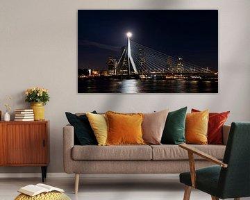 Erasmus-Brücke-Vollmond von Daan Kloeg