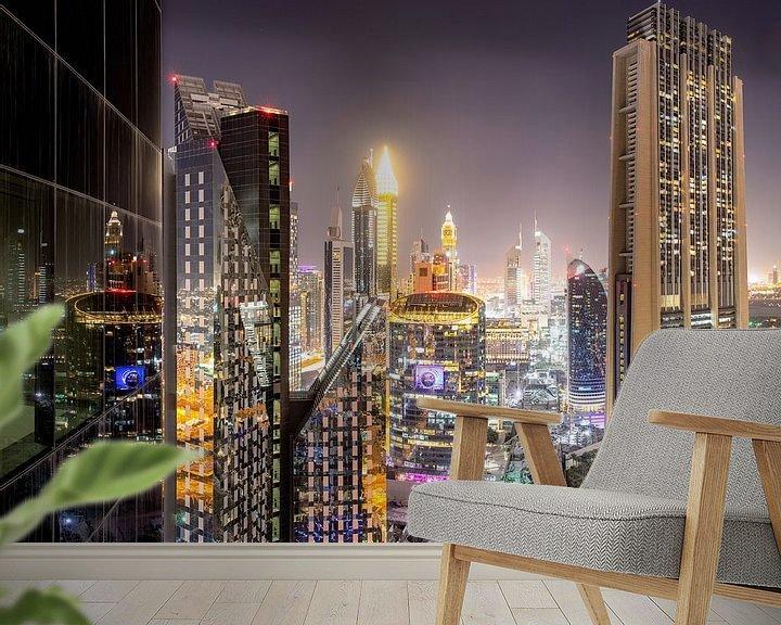 Sfeerimpressie behang: Dubai International Financial Centre 's nachts van Rene Siebring