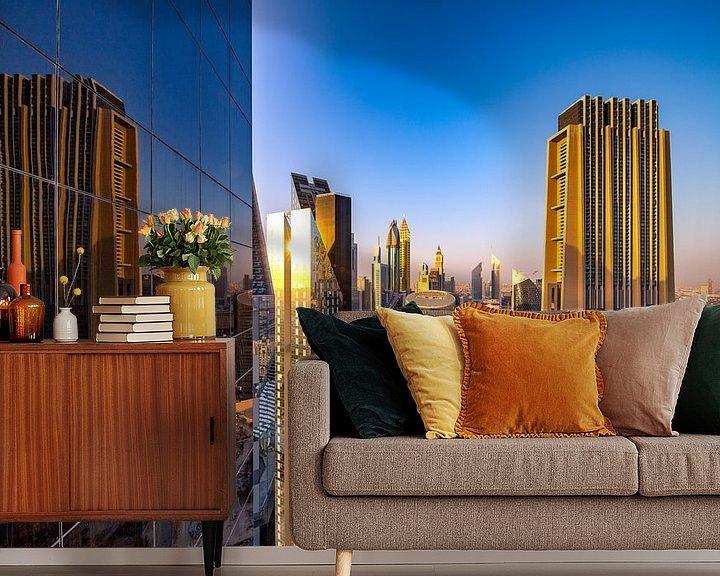 Sfeerimpressie behang: Dubai kantoorreflectie van Rene Siebring