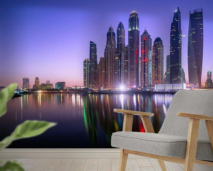 Sfeerimpressie behang: Dubai Marina Skyline van Rene Siebring