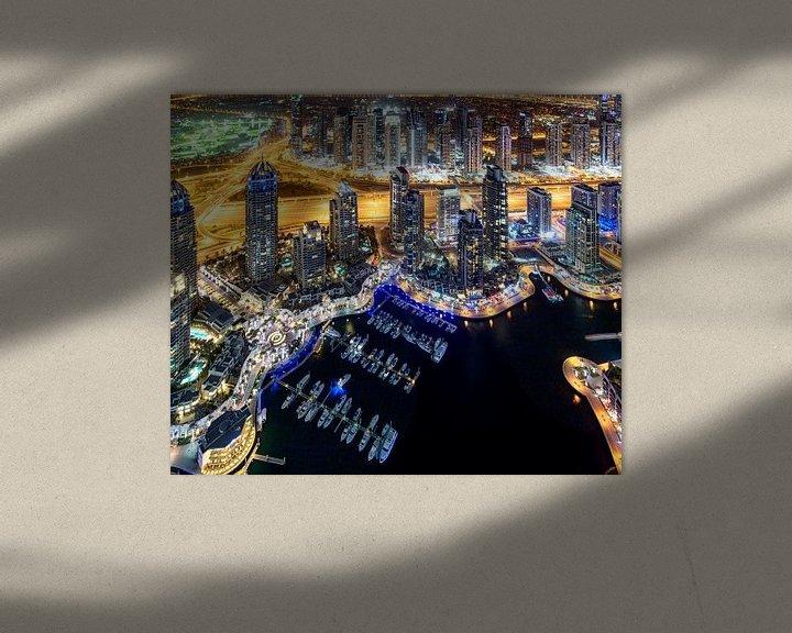 Sfeerimpressie: Dubai Marina boten van bovenaf van Rene Siebring